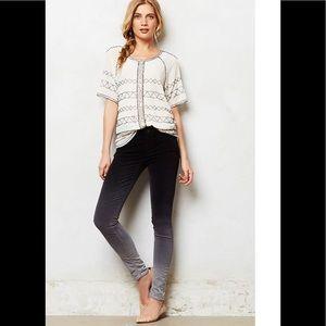 Anthro MOTHER black velvet ombré skinny jeans